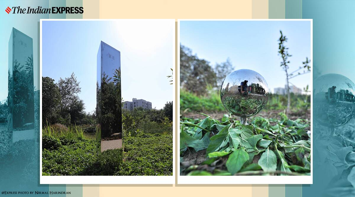 ahmedabad monolith, ahmedabad monolith disappear, india monolith vanishes, india monolith, monoliths, ahmedabad monolith replaced sphere, viral news, odd news, indian express
