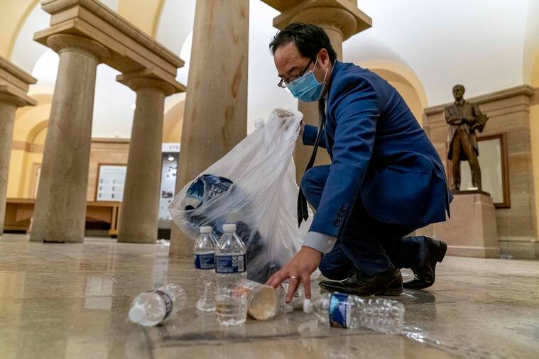 andy kim, US Capitol Hill Siege, US Capitol Hill attack, Capitol hill clean up efforts, congressman clean up capitol hill, andy kim capitol clean up viral pics, viral news, indian express