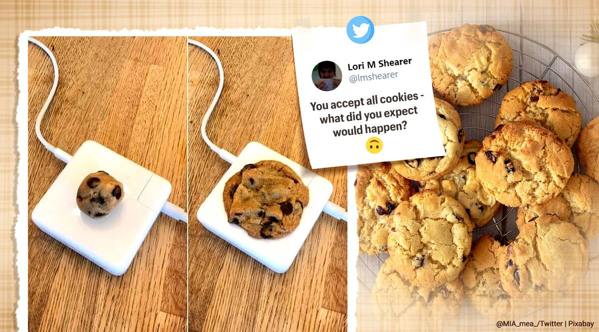 apple charger, overheating macbook chargers, apple charging adaptor overheating, cookies baking apple charges, apple chargers jokes, viral news, indian express