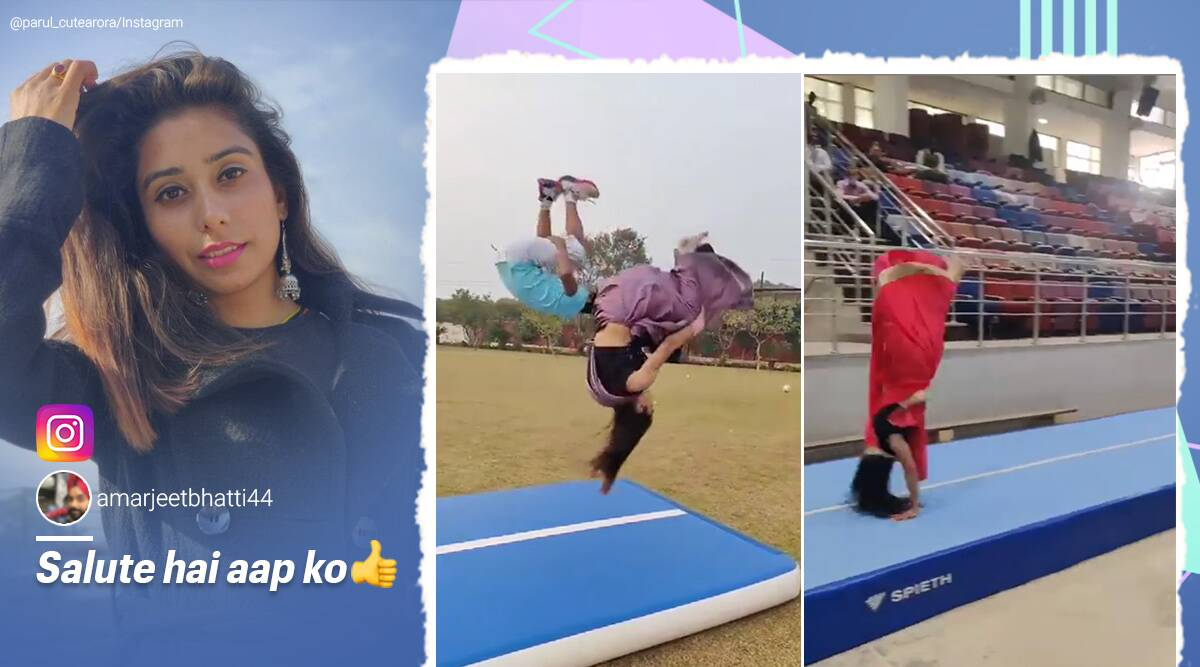 Gymnast, backflips in saree, Gymnast in saree viral video, backflips wearing saree viral video, Haryana, Trending news, backflip in saree,catwheels in saree, Gymnastsinsaree, Viral video, Indian Express news.