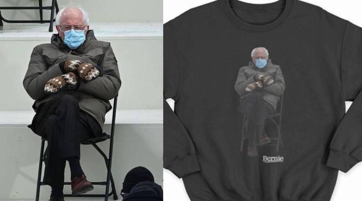 Bernie Sanders Sells Sweatshirt Featuring Viral Inauguration Photo For Charity Lifestyle News The Indian Express
