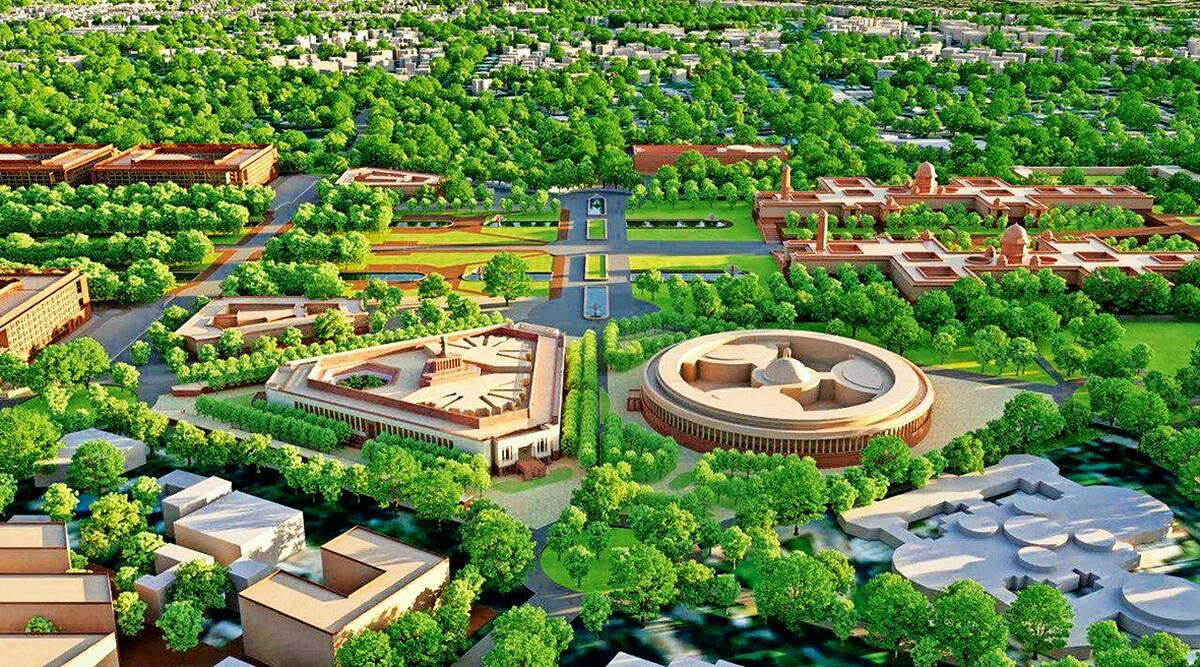 Parliament building Construction begins, new Parliament building, Central Vista redevelopment project, Delhi news, Indian express news