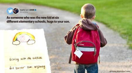 boy welcomes new kid, new kid thank you letter to boy in school, new school first day experience, good news, ravi kahlon, indian express, canada news
