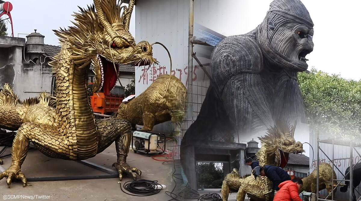 china, Sichuan, men turn waste tyres into sculptures, china viral video, tyres into majestic animals, trending, indian express, indian express news