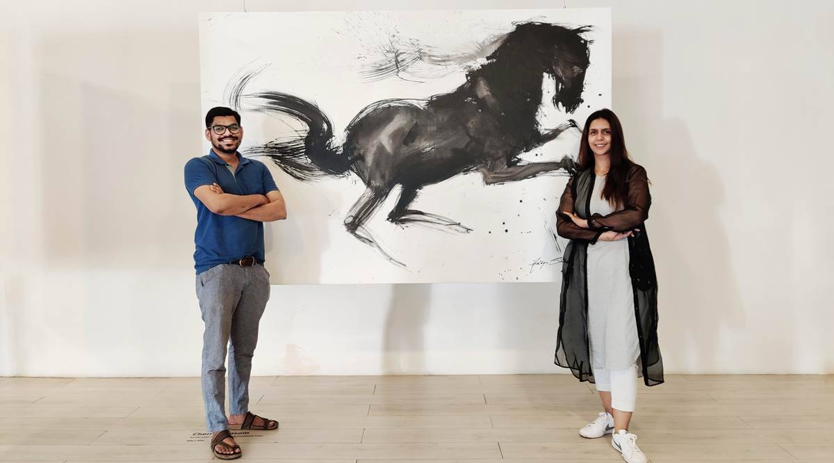art, art pieces, artwork, paintings, pandemic year, artist, lockdown, painting with mops and brooms, dark horse, indian express news
