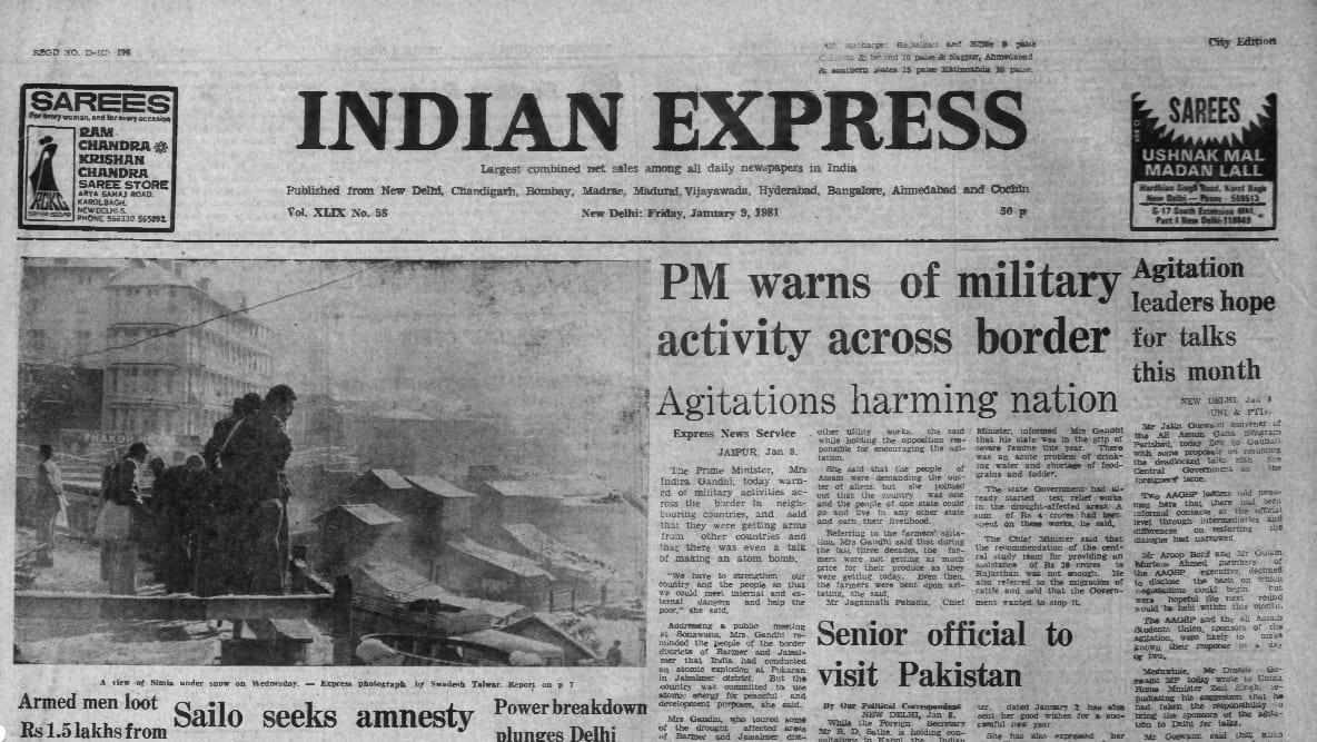 Indira Gandhi, Pokhran, Pokhran atomic test. forty years go, indian express forty years ago, indian express editorial. India Express news