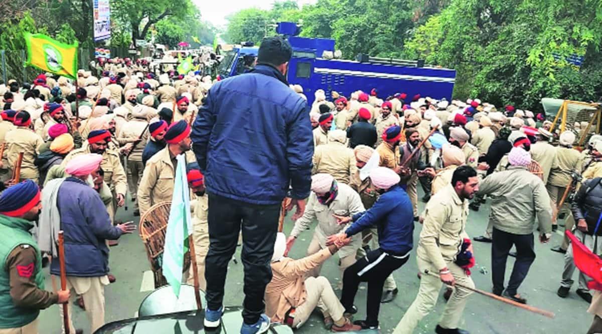 Ashwani Sharma, Punjab BJP president, Farmers protest, farmers clash at Sangrur, Farmers clash with police, indian express news