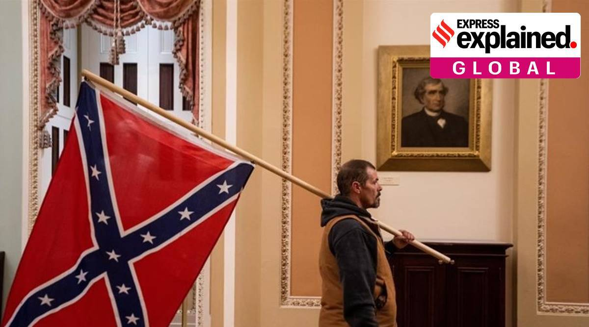 US capitol hill siege, capitol hill violence, confederate flag capitol hill, what is the confederate flag, donald tru,mp, US senate, slavery US, indian express, express explained
