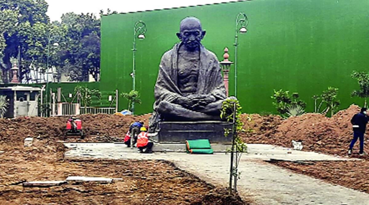 Parliament, new parliament building, central vista, gandhi parliament statue, indian express news