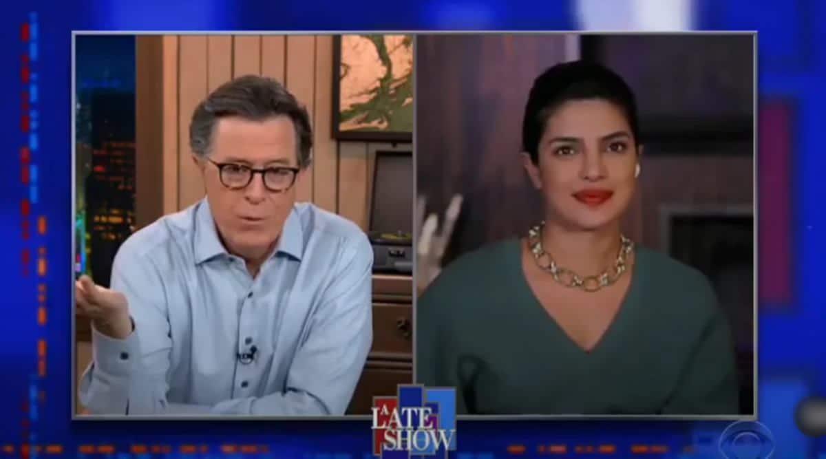 Priyanka Chopra, Kamala Harris, The Late Show with Stephen Colbert, Priyanka Chopra talks about kamala harris, US vice president, US, US twitter, Trending news, indian express news