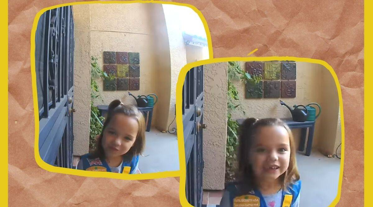 girl scout cookies, girl selling girl scout cookies, little girl sales pitch, girl in Arizona cookie sale, cookies, cookies twitter, trending, indian express, indian express news