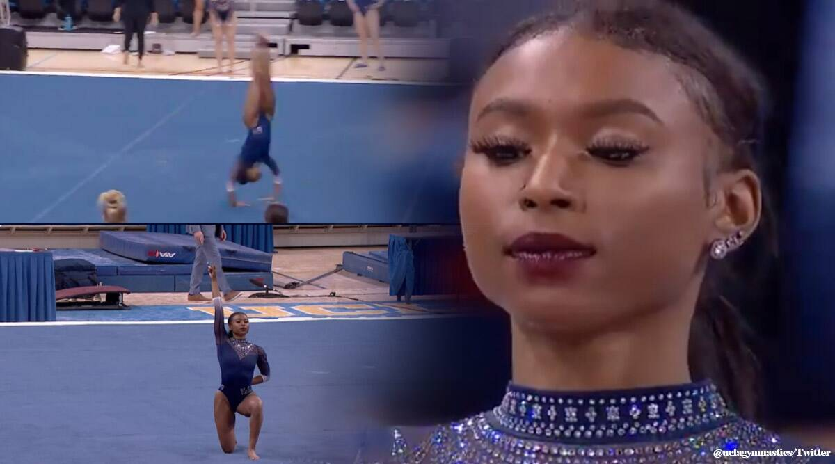 Nia Dennis: US gymnast's 'black excellence' routine goes viral, US gymnast's 'black excellence twitter reactions, trending, viral video, indian express, indian express news