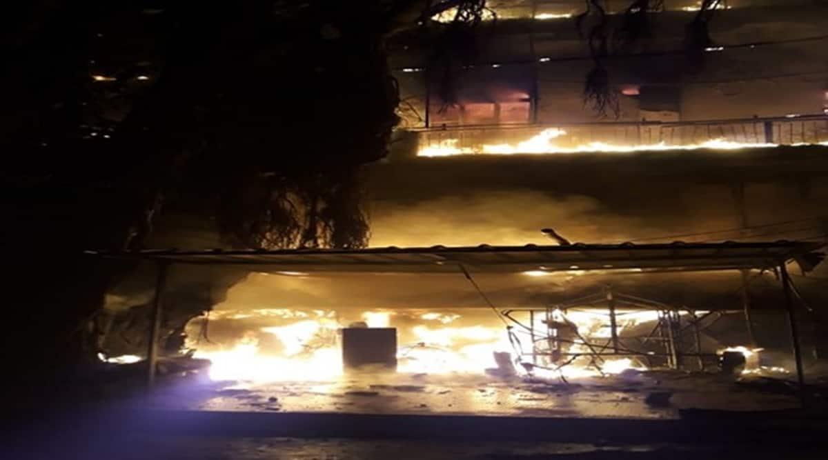 Harley Davidson showroom fire, fire in Moti Nagar Harley Davidson showroom, New Delhi, Indian Express