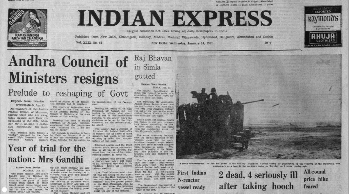 Forty Years Ago, January 14, 1981: Andhra resignations