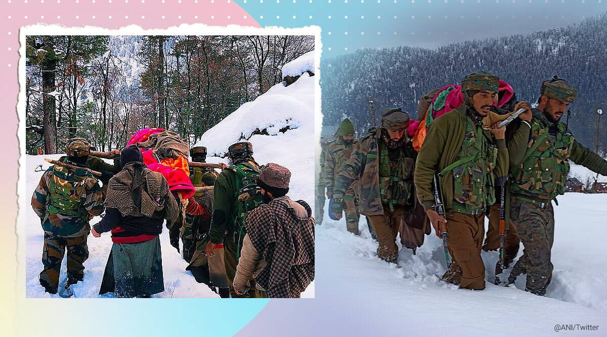 jammu and Kashmir, army, army soldiers carry pregnant lady amid snowfall, army trending, army viral pics, army jammu kashmir trending, indian express news
