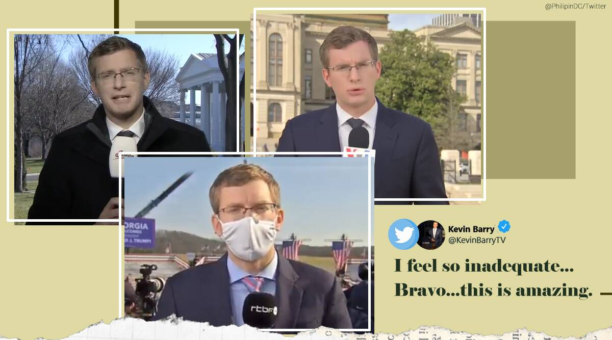 polyglot journalist, multilingual journalist, Washington polyglot reporter, Philip Crowther, Philip Crowther multiple languages coverage, viral videos, indian express