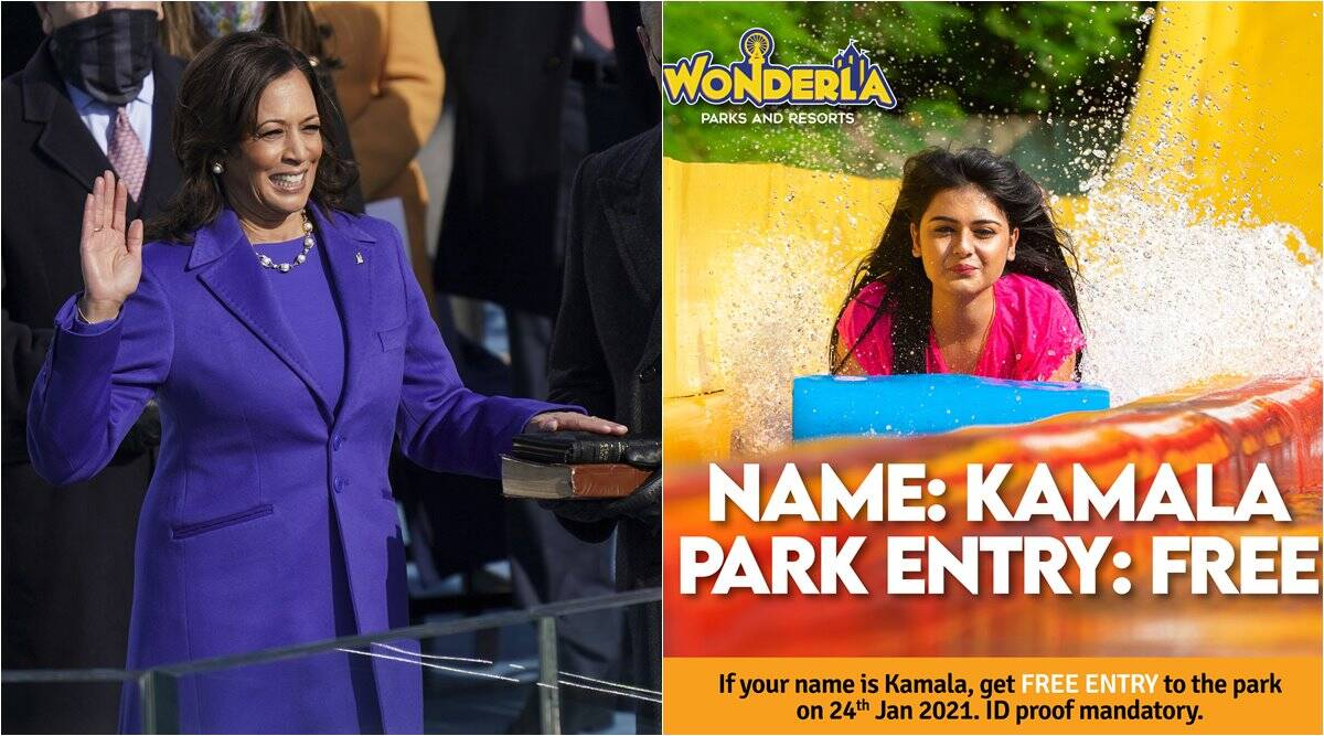 kamala harris, kamala harris park free entry, indian amusement park offers free entry to all kamala, wonderla kamala name free entry, Wonderla Kamala Harris tribute, viral news, odd news, indian express news