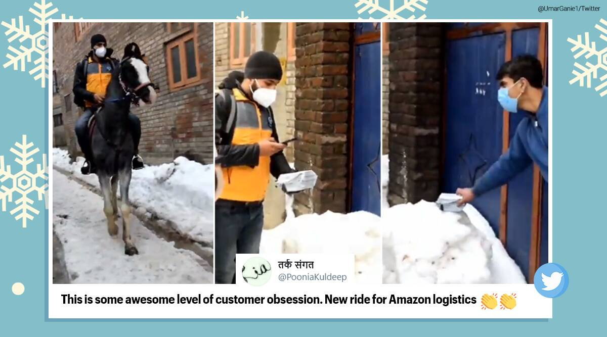 amzon, amzon kashmir delivery, amazon delivery on horse, delivery boy on horse, amazon delivery horse, kashmir parcel delivery horse, viral videos, Trending news, indian express news
