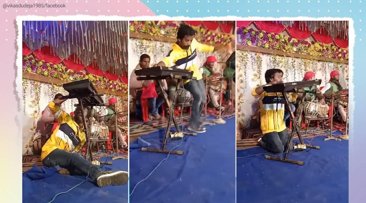 Man dances while playing keyboard, Funny keyboard player, Keyboard player dancing, Viral video, funny videos, Trending news, Indian Express news
