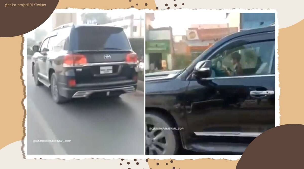 Pakistan, Pakistan kid viral video, kid drives, 5-yr-old driving an SUV, kid drives suv, Land Cruiser, Viral video, Trending, indian express news