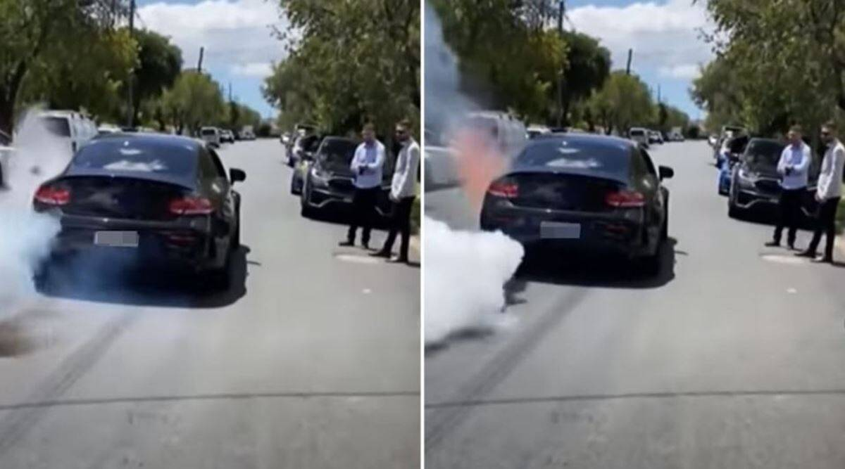 Mercedes burnout gone wrong, mercedes end in flames failed burnout, engine catches fires after burnout, viral video, indian express