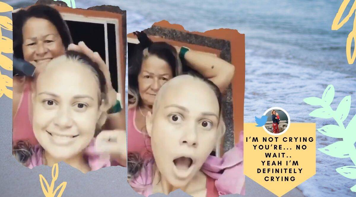 cancer, mother shaves hair to support daughter, cancer patients, cancer, viral video, trending, indian express, indian express news