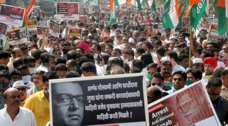 Republic TV, Mumbai congress, Arnab goswami, mumbai congress protest, mumbai news, Indian express news