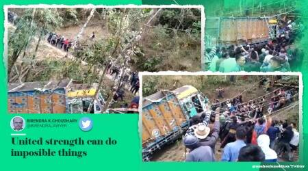 nagaland truck rescue, villagers pull out truck, nagaland villagers truck rescue, nagaland news, north east news, viral videos, good news, indian express