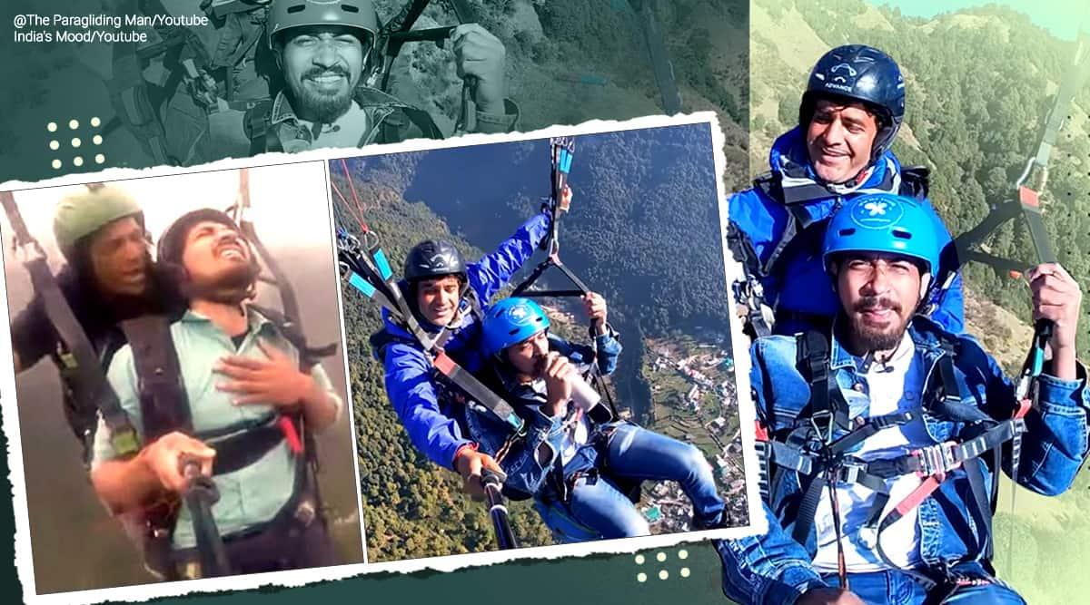 paragliding guy meme, paragliding meme guy try again, vipin sahu, vipin sahu new video, paragliding 2.0 vipin sahu, land kara de guy paragliding again, viral video, indian express