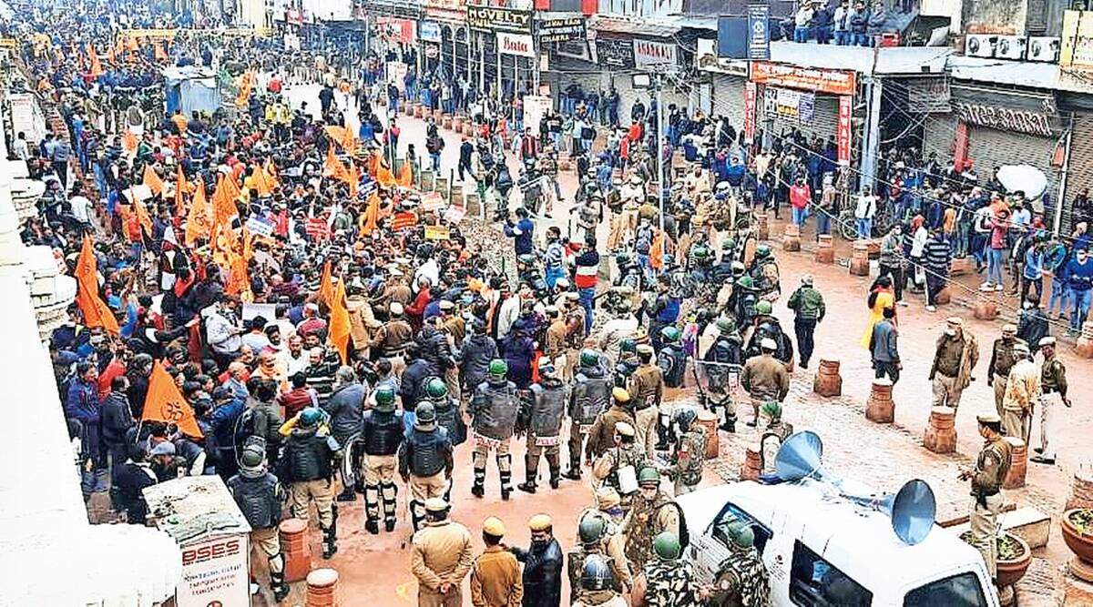 Delhi temple demolition: VHP, Bajrang Dal protest, cops step in