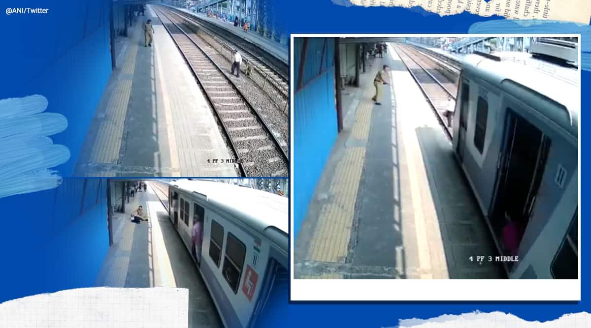 Maharashtra, mumbai cop, mumbai cop saves man, railway track, mumbai railway track viral video, mumbai cop saves life, trending, indian express, indian express news