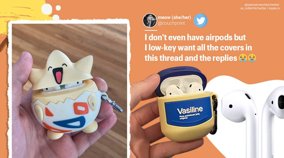 airpod cases, apple airpod case, custom made airpod cases, quirky airpod cases, personlised airpods covers, viral news, viral twitter thread, indian express news