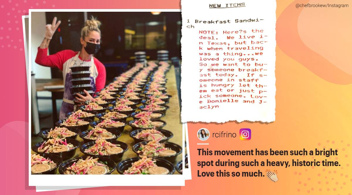 top chef restaurant donate meals pay it forward, brooke willamson, restaurant pay it forward, frontline workers food donation, playa provisions, good news, trending news, indian express