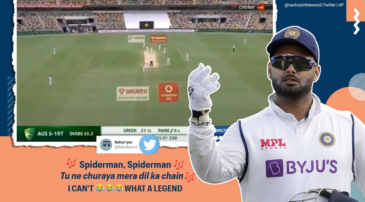ind vs aus, rishabh pant, ind aus test rishabh pant, rishabh pant stump mic song, rishabh pant sings spiderman, rishabh pant song funny video, indian express, cricket news, sports news