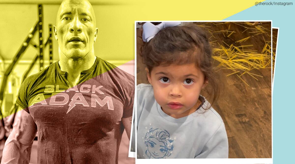 Dwayne johnson, The Rock Daughter Spaghetti Spill viral video, Dwayne johnson daughter viral video, trending, indian express, indian express news