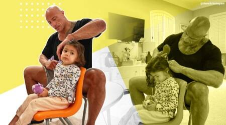 Dwayne Johnson, the rock, the rock combing daughter's hair, the rock instagram, the rock insta post daughter viral, trending, indian express, indian express news