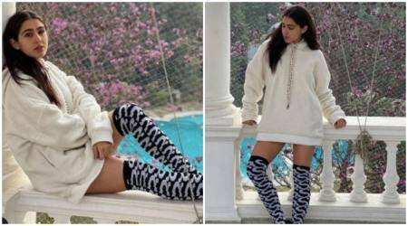 sara ali khan, sara ali khan photos, sara ali khan winter wear photos, indian express, indian express news