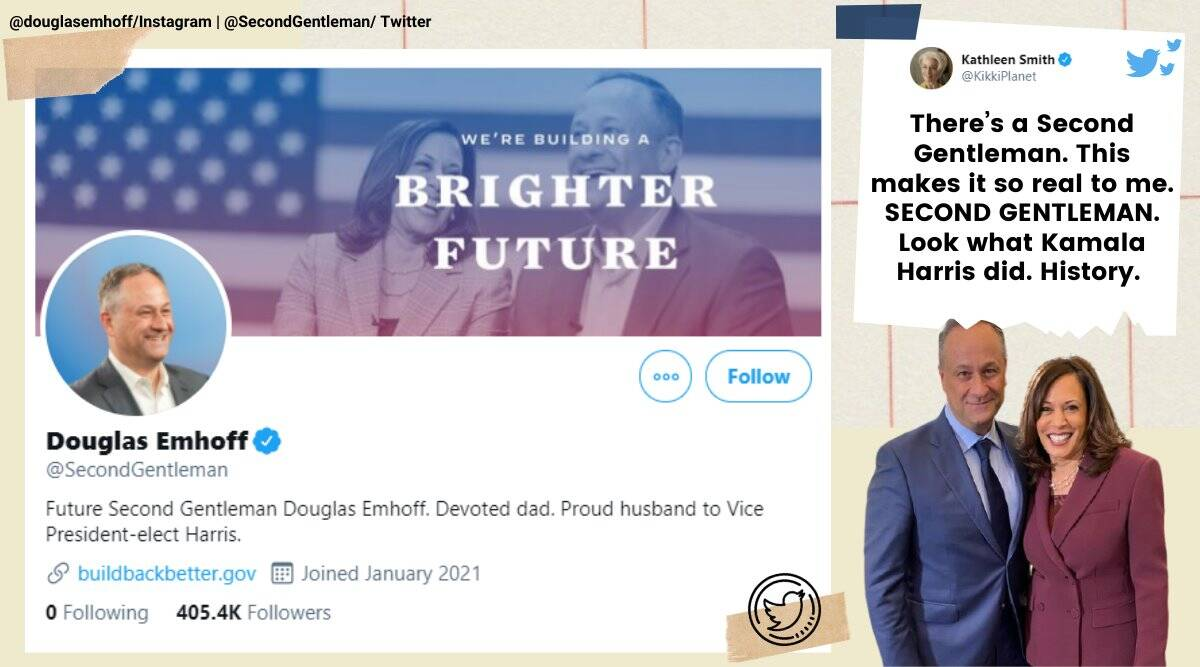 Douglas Emhoff, second gentleman twitter account, first male second spouse, kamala harris husband twitter account, us second spouse account, viral news, indian express