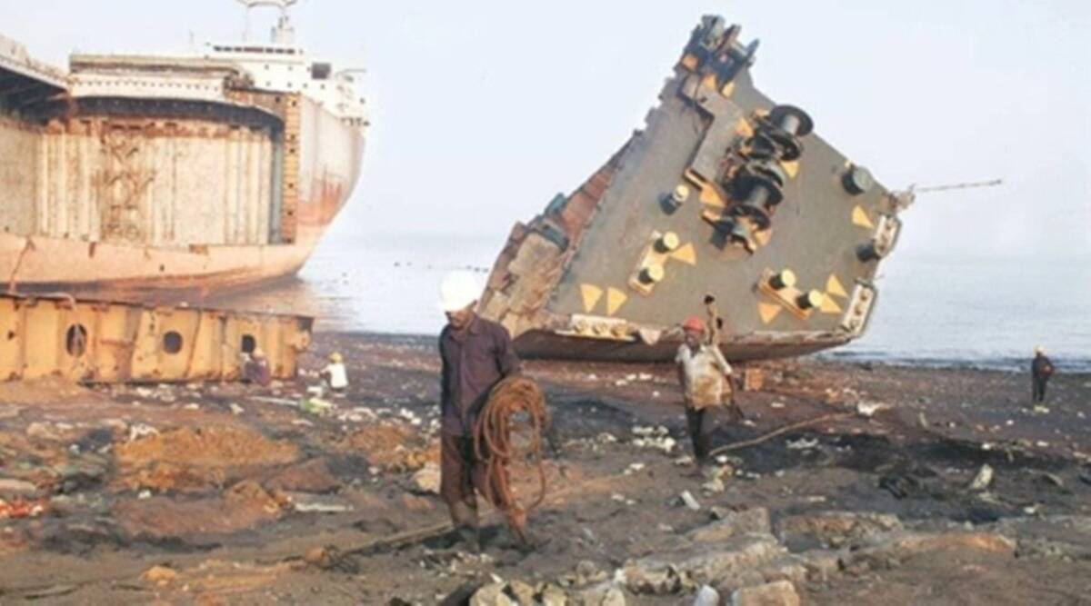 Gujarat Ship breaking yard, Alang ship-breaking yard, Ship dismantling, Covid-19, Indian Express news