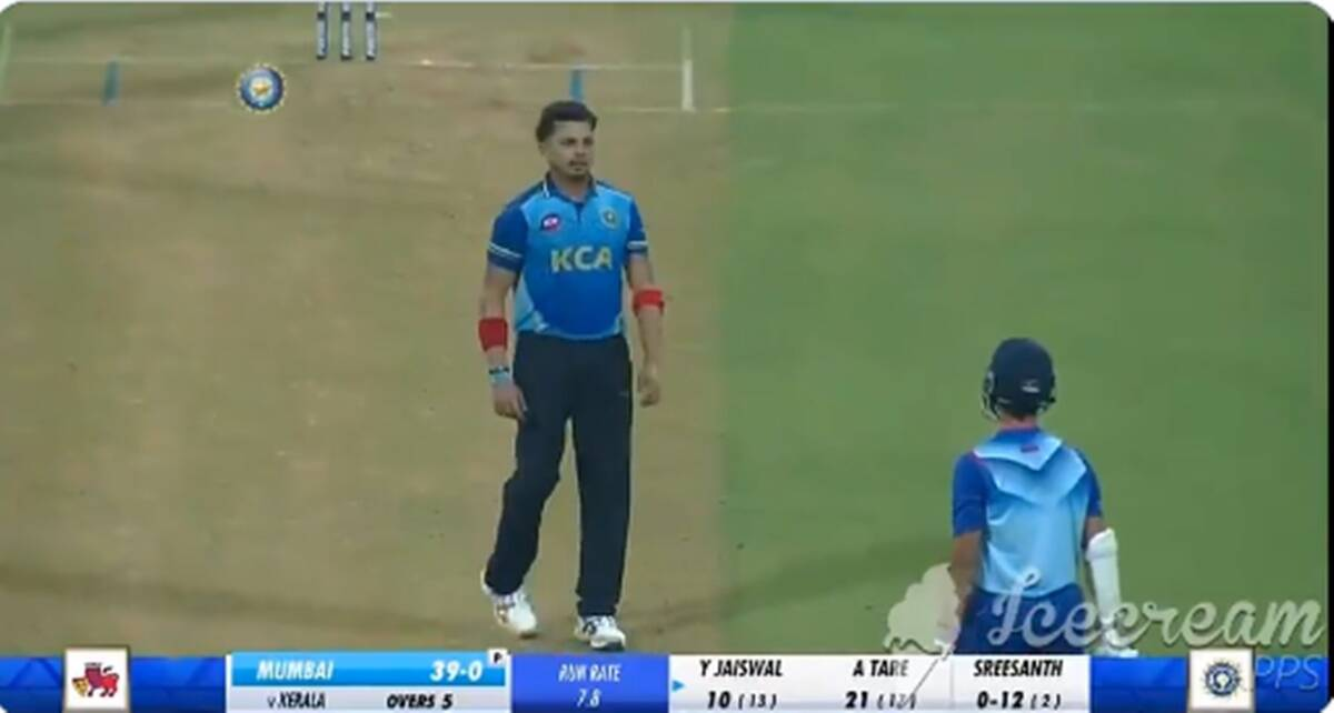 Watch: Sreesanth tries to sledge, Yashasvi Jaiswal responds with 2 sixes in next 2 balls - The Indian Express