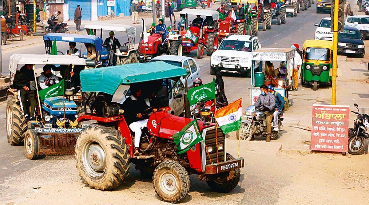 Farmers hold protest march with over 800 tractors on Mohali roads