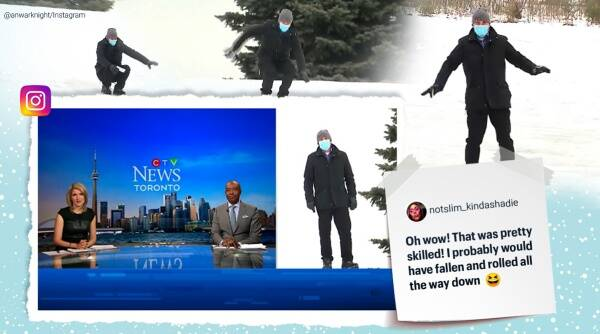 funny weather update, weather man slide downhill update, CTV weather man slide downhill forecast, anwar knight sliding downhill forecast, Trending news, viral videos, indian express