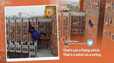 Italy, Befana witch, woman dressed as Befana witch , Befana witch Italian children's hospital, Befana witch flies over children's hospital, children's hospital, Befana witch costume, Taranto, Viral video, Trending news, Indian Express news