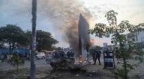 Silver monolith set on fire after mysterious appearance in Congo