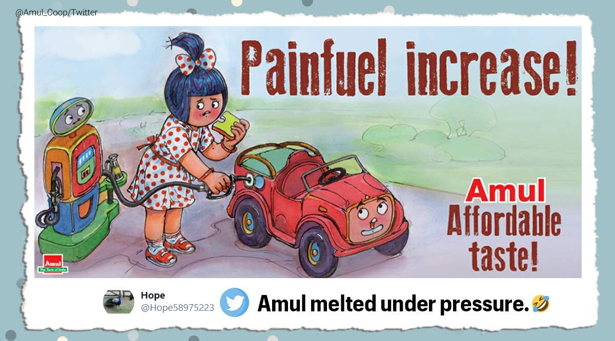 Amul, Amul cartoon, Amul fuel price hike, Amul doodle fuel price hike, Fuel price hike memes, Amul petrol price hike cartoon, Amul doodle, Fuel price hike, Trending news, Indian Express news.