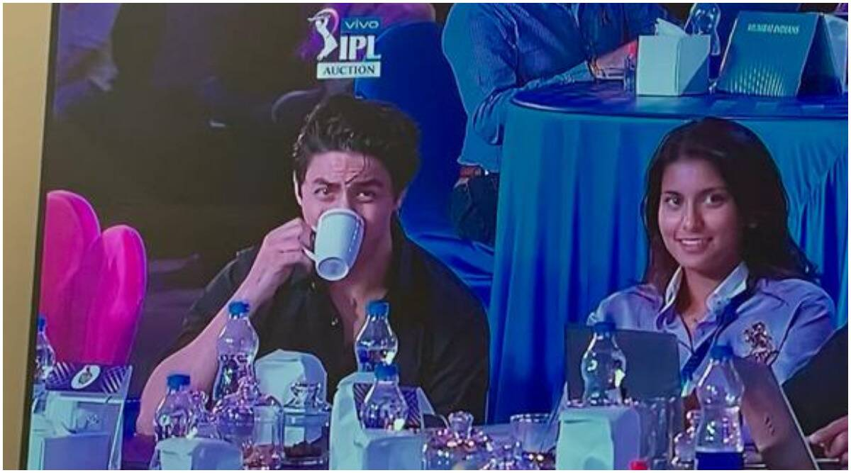Image result for IPL: Juhi Chawla is happy to see her daughter Jahnavi and Shah Rukh Khan's son Aryan Khan at the KKR auction table