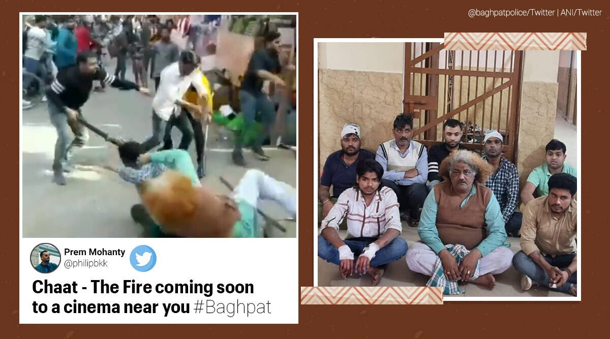 baghpat brawl, baghpat chaat vendors fight, up shopkeeper fight video, chacha memes, baghpat chaat fight video spoofs, up news, viral news, indian express