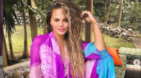 Chrissy Teigen, Chrissy Teigen surgical scars, Chrissy Teigen normalising scars, Chrissy Teigen Valentine's Day 2021, Chrissy Teigen scars, Chrissy Teigen body image, indian express news