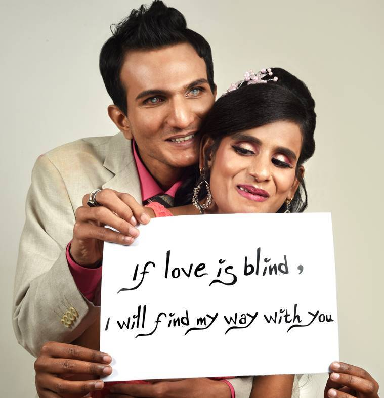 valentines day 2021, visually challenged couple