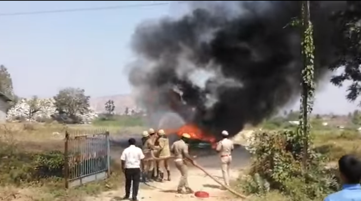 Krishnagiri fire, car fire, AMMK cars